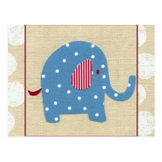 Blauer Elefant mit weißen Tupfen Postkarte