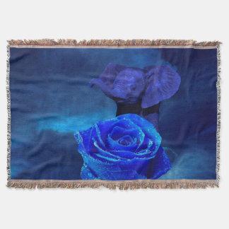 Blauer Elefant und Rose Decke