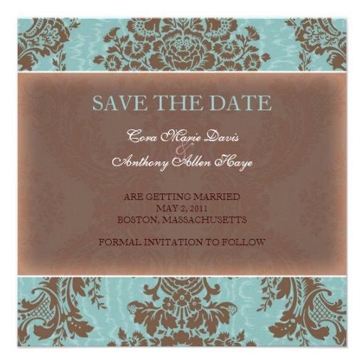 Blauer eleganter Damast Save the Date Individuelle Ankündigskarten