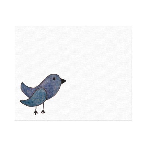 Blauer Emo Vogel-Leinwand-Wand-Druck Gespannte Galeriedrucke