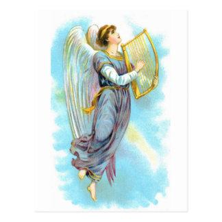 Blauer Engel und Harfe Postkarte
