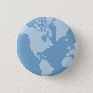 Blauer Erdknopf Runder Button 3,2 Cm