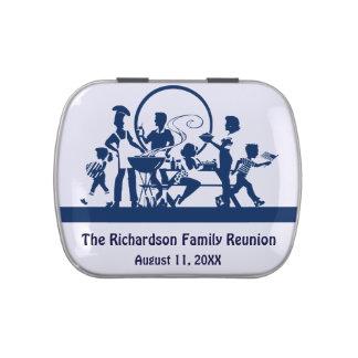 Blauer Familien-Wiedersehen-Grill-personalisierte Jelly Belly Dosen