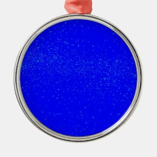 Blauer Fleck-Hintergrund Rundes Silberfarbenes Ornament