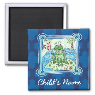 Blauer Fliesen-Magnet $3,65 Quadratischer Magnet