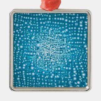 Blauer flüssiger Hintergrund Quadratisches Silberfarbenes Ornament