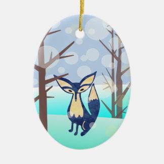 Blauer Fox in der Winter-Holz-Keramik-Verzierung Ovales Keramik Ornament