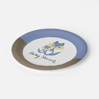 Blauer Fox-Leinwand-Babyparty Pappteller