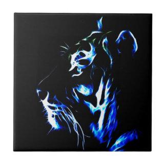 Blauer Fractalius Tiger Keramikfliese