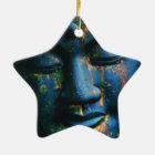 Blauer Frieden Buddhas OM Keramik Ornament