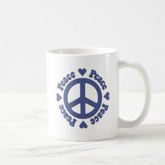 Blauer Frieden und Liebe Kaffeetasse