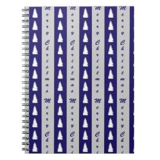 Blauer fröhlicher Weihnachtsbaum-Entwurf Spiral Notizblock