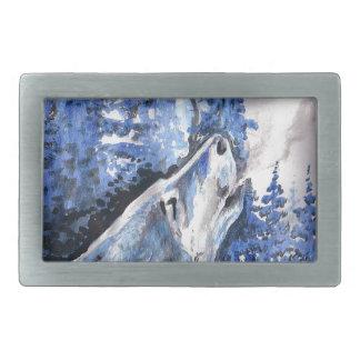 Blauer Frost-Wolf-Winter-Wolf-Kälte-Atem Rechteckige Gürtelschnalle