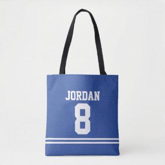 Blauer Fußball Jersey mit individuellem Namen und Tasche