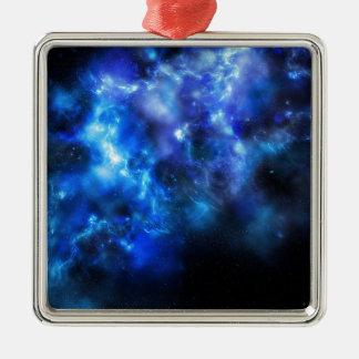 Blauer Galaxie-Druck Quadratisches Silberfarbenes Ornament