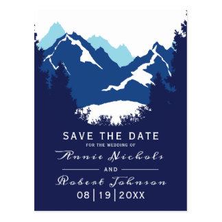 Blauer Gebirgswinter Save the Date wedding Postkarte