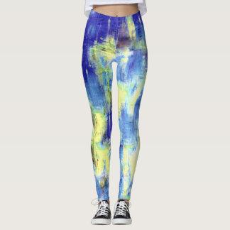 Blauer gelber Farben-Spritzer Leggings