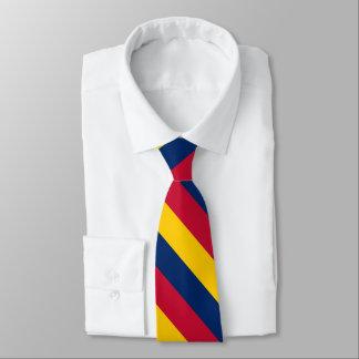 Blauer gelber und roter Hochschulstreifen Krawatte