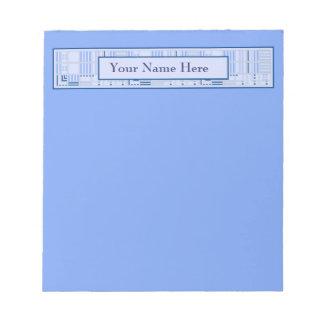 Blauer geometrischer Notizblock mit Ihrem Namen