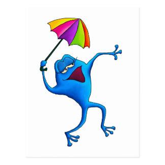 Blauer Gesang-Frosch mit Regenschirm Postkarte