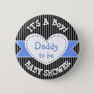 Blauer gestreifter Babyparty-Knopf-Vati, zum Knopf Runder Button 5,7 Cm