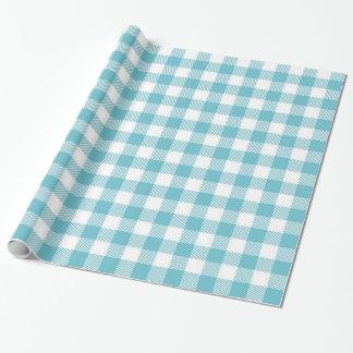 Blauer Gingham Geschenkpapier