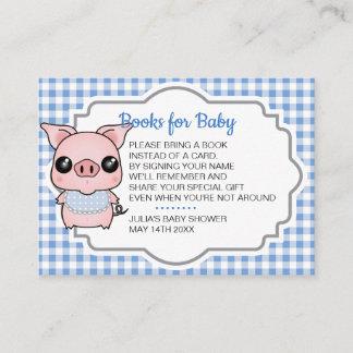 Blue Gingham Piggy Baby Shower Book Request Insert