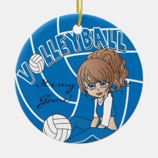 Blauer Girly Volleyball Rundes Keramik Ornament