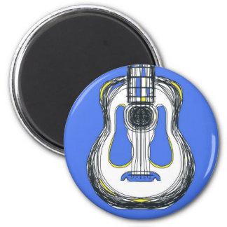 Blauer Gitarren-Monster-Gesichts-Magnet Runder Magnet 5,1 Cm