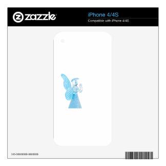 Blauer Glasengel, der auf weißem Hintergrund betet iPhone 4 Skins