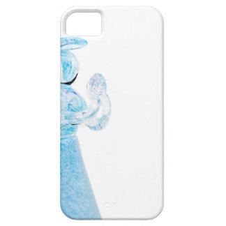 Blauer Glasengel, der auf weißem Hintergrund betet iPhone 5 Case