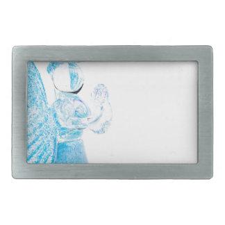 Blauer Glasengel, der auf weißem Hintergrund betet Rechteckige Gürtelschnallen
