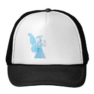 Blauer Glasengel, der auf weißem Hintergrund betet Retrokappe