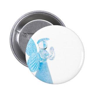 Blauer Glasengel, der auf weißem Hintergrund betet Runder Button 5,7 Cm