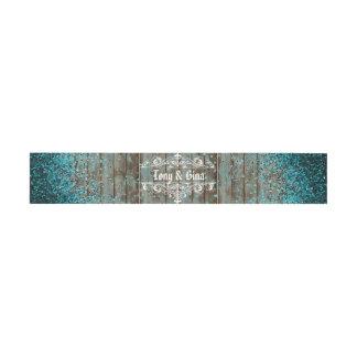 Blauer Glitter-blaue rustikale hölzerne Hochzeit Einladungsbanderole