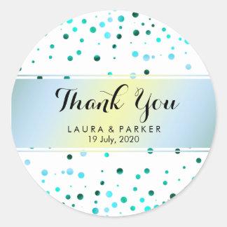 Blauer Glitter danken Ihnen HochzeitConfetti Runder Aufkleber