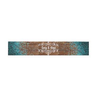 Blauer Glitter-rustikale hölzerne Hochzeit Einladungsbanderole
