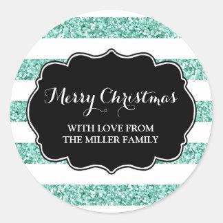 Blauer Glitter Stripes frohe Weihnacht-Gewohnheit Runder Aufkleber