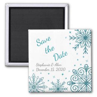 Blauer Glittery Schneeflocke-Winter Save the Date Quadratischer Magnet