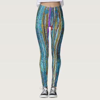 Blauer Glitzer u. goldenes gestreiftes Muster Leggings