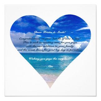 Blauer Glückwunsch-Karte Halb-Glanz des Ozean-| Quadratische 13,3 Cm Einladungskarte