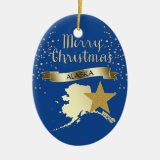 Blauer Goldalaska-Stern Keramik Ornament
