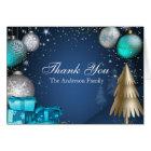 Blauer Goldflitter-Weihnachtsfeiertag danken Ihnen Karte