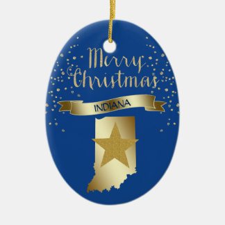 Blauer Goldindiana-Stern Keramik Ornament