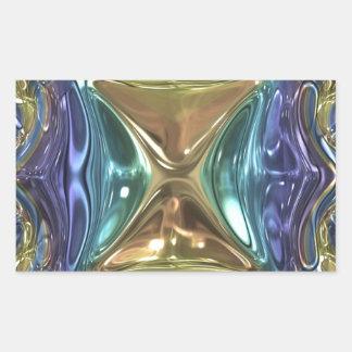 Blauer Goldschimmer Rechteckiger Aufkleber