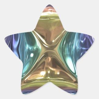 Blauer Goldschimmer Stern-Aufkleber
