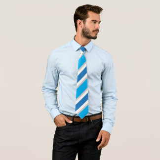 Blauer graues Weiß-gestreifter konservativer Power Bedruckte Krawatten