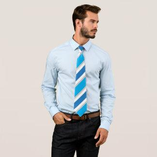 Blauer graues Weiß-gestreifter konservativer Power Krawatte