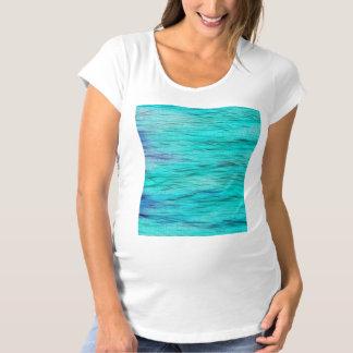 Blauer grünes Seehintergrund Schwangerschafts T-Shirt