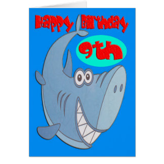 Blauer Haifisch-9. Geburtstag Karte
